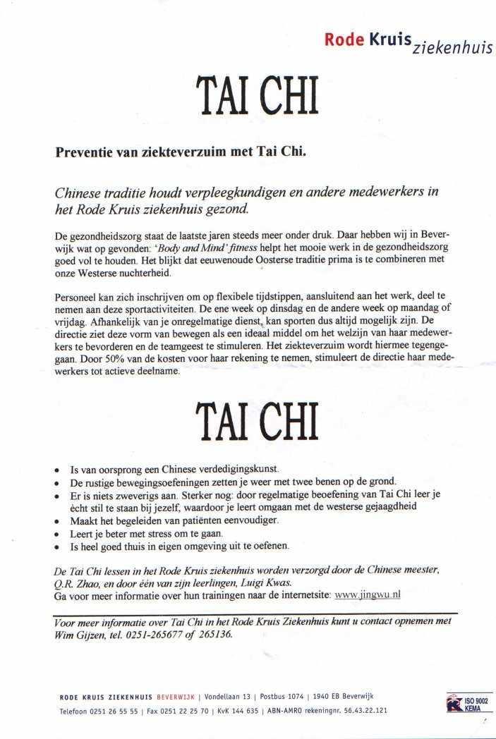 Tai Chi workshop poster voor Ziekenhuis